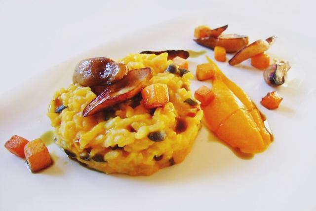 Kürbis-Risotto mit Pilze